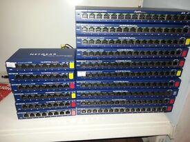 netgear network switches / hubs x 16