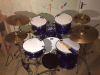 Extensive full size Chase drum kit in great condition.