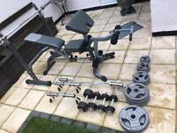 Bodymax olympic gym set. Heavy duty. Bench, bar, dumbbells and more