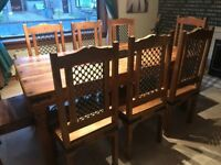 Indian large wooden Jali dining table with 8 chairs with matching cabinet