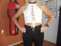 NEW CROP TOP LACE UP TOP SIZE 10-12 UK