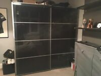 Ikea double black wardrobe