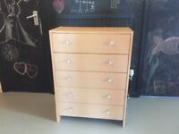 Chest of Drawers - almost new, light oak colour five drawers