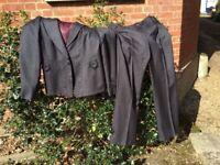Next Ladies Dark Grey Herringbone Trouser Suit Size 16 Jacket size 14 Trousers