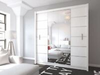 BRAND NEW 203CM WIDE LIZBONA 2 DOOR SLIDING WARDROBE WITH MIRROR IN BLACK AND WHITE COLOUR