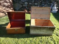 vintage kists storage boxes chests for upcycling renovation projects one metal one wooden