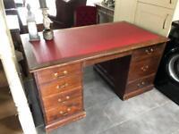 Antique Edwardian Mahogany Pedestal Desk