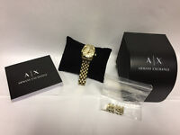 LADIES ARMANI EXCHANGE AX DIAMOND CRYSTAL GOLD WATCH