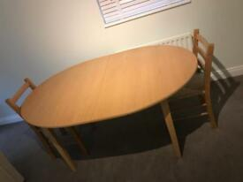 DINING TABLE - Beech Scandinavian Dining Table - Extendable