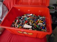 Large plastic trunk of lego components