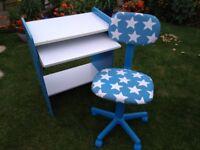 Children's Desk & Adjustable Chair for Sale. Desk H: 79 cm W: 63 cm D: 38.5 cm (61 cm when extended)
