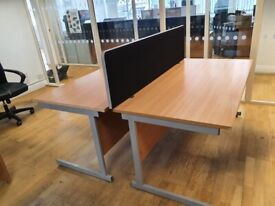 2 single office desks with dividers and modesty panels