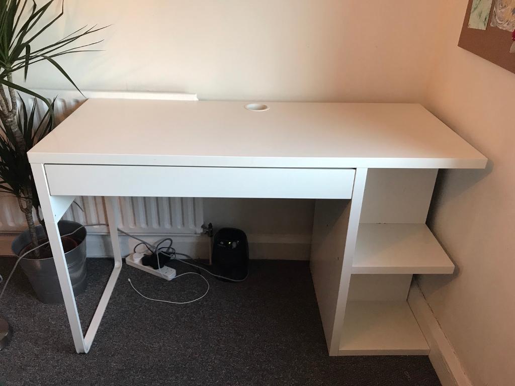 IKEA Micke Desk (white) with built-in shelves