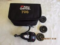Abu Garcia 706 Closed Face Fishing Reel +a case and 3 spare spools!