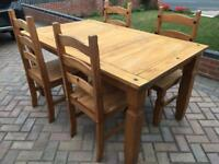 Solid Pine Corona Dining Table and 4 Chairs
