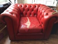 Red chesterfield arm chair needs a bit of love but really comfy