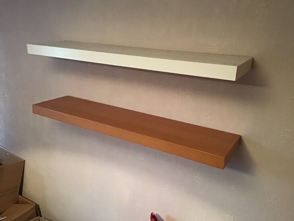 Two floating shelves very good condition size 1100 by 270 deep one in white and one in beech in acocks green west midlands gumtree