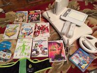 Wii, Wii board, Wii draw, Wii steering wheel, Zumba belt, 9 games