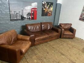 REAL LEATHER 3 PIECE SOFA SET 3 SEAT & 2 ARMCHAIRS