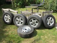 Discovery 2 alloy wheels and tyres x 4 with free steel spare