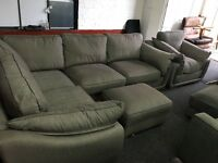 NEW EX DISPLAY dfs GREY CORNER SOFA + OTTOMAN FOOTSTOOL + SINGLE CHAIR