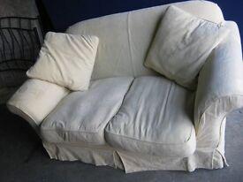Sofa / Settee - 2 Seater -Cream - On Wheels - Compact