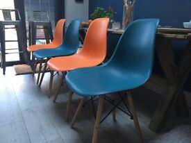 4 x MOF Inspired Eiffel Retro DSW plastic dining chairs Orange & Ocean Blue