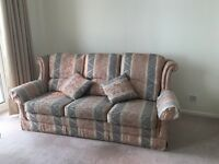 Three piece suite + Two seater + Armchair + Footstool