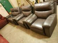 Brown leather brown 2 seater & 2 chairs
