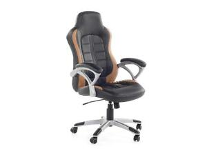 Swivel Computer Chair Black and Light Brown - PRINCE
