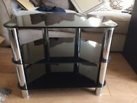 Black glass tv table stand