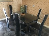 Dinning table 6 black leather chairs chrome trimming frame dining chairs and table