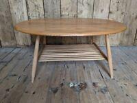 Scarce OVAL Ercol coffee table w/ magazine rack MCM elm natural finish blue label gplanera