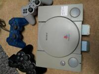 for sale sony play station, two memory card and three controller