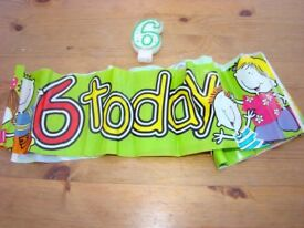 Kids No. '6 today' banner & No. 6 Candle. VGC. Used once. Can post.