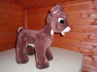 large floor standing Rudolf reindeer with flashing nose