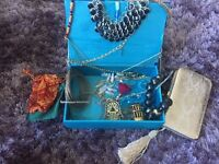 Treasure box of jewellery and ladies phone purse