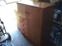 Small Wardobe with Drawers / Pine / Sturdy / Good Condition / Nice Piece