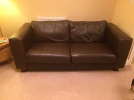 John Lewis brown leather sofa for sale.