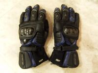 SPADA FORCE II WP MOTORCYCLE MAN'S GLOVES SIZE LARGE BLUE/BLACK