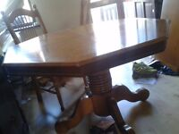 Octagon dining table,solid oak,extendable,carved,115-160cm,no chair
