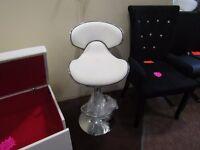 2 white leather casino bar stools