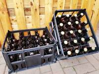 Beer Crates Homebrew Bottles Crown Caps