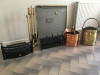 Collection of fireside accessories and 2 caste iron grates