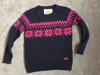 Ladies superdry Nordic knit jumper navy & pink small £5 ip2