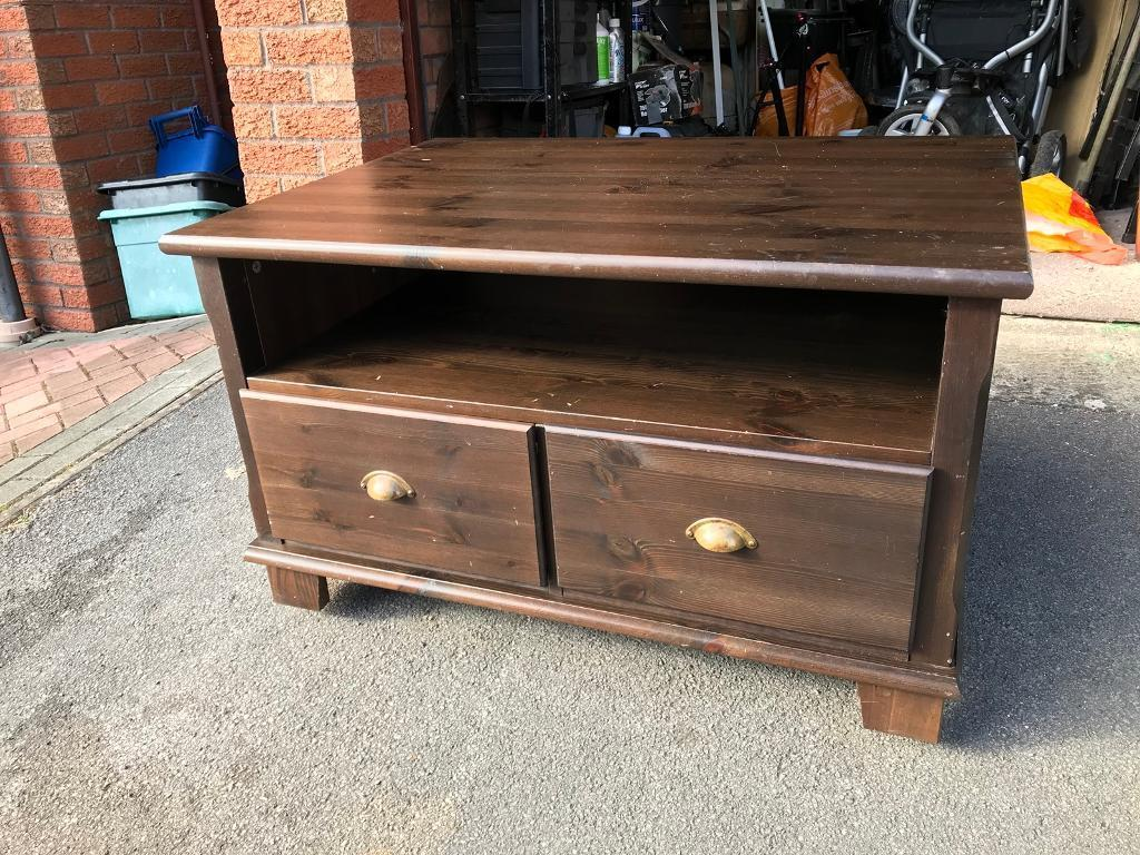 Ikea Markor Solid Dark Wood Tv Stand Media Unit With Drawers In  # Meuble Tv Ikea Markor