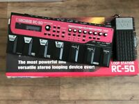 Boss RC-50 Loop Station with box power supply manual and Roland EV-S expression pedal