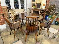 Ercol drop leaf table with 6 goldsmith chairs