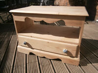 Farmhouse Solid Pine Unit / Stand With Dovetail Joint Drawer & Porcelain Handles