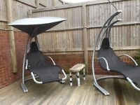 Pair of Helicopter Garden Loungers, with unused cushions